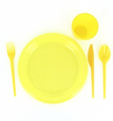 Plastic Knife PS Yellow 16,5 cm (15 Units)
