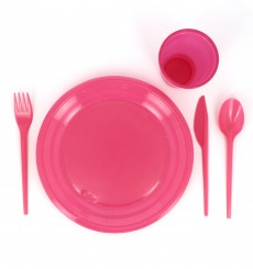 Plastic Knife PS Fuchsia 16,5 cm (15 Units)