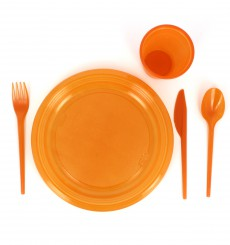 Plastic Knife PS Orange 16,5 cm (15 Units)