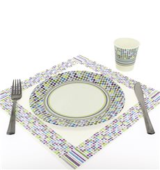 "Paper Plate ""Rayas y Topos"" Design 23cm (504 Units)"