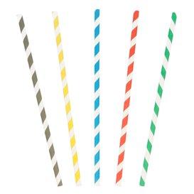 Paper Straw Straight Striped Ø0,6cm 20cm (10000 Units)