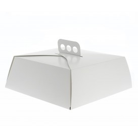 Paper Cake Box Square Shape White 34,5x34,5x10cm (50 Units)