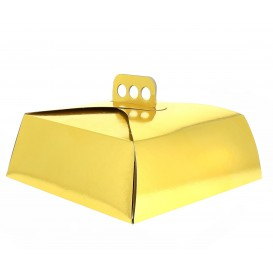 Paper Cake Box Square Shape Gold 27,5x27,5x10cm (50 Units)