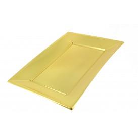 Plastic Tray Gold 33x23cm (12 Units)