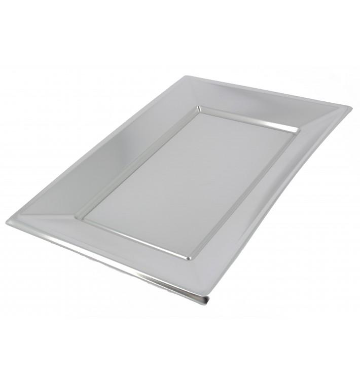 Plastic Tray Silver 33x23cm (2 Units)