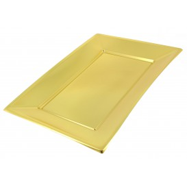 Plastic Tray Gold 33x22,5cm (120 Units)