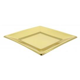 Plastic Plate Flat Square shape Gold 18 cm (25 Units)