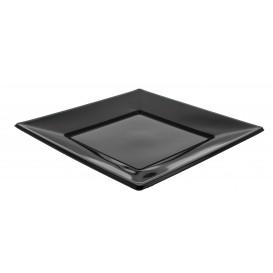Plastic Plate Flat Square shape Black 23 cm (25 Units)
