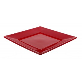 Plastic Plate Flat Square shape Burgundy 17 cm (750 Units)