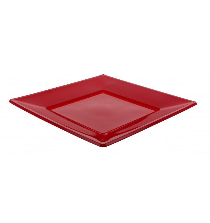 Plastic Plate Flat Square shape Burgundy 17 cm (750 Units)