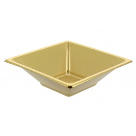 Plastic Bowl PS Square shape Gold 12x12cm (5 Units)