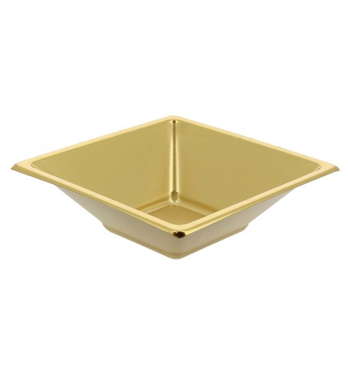 Plastic Bowl PS Square shape Gold 12x12cm (300 Units)