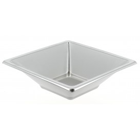 Plastic Bowl PS Square shape Silver 12x12cm (300 Units)