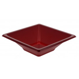 Plastic Bowl PS Square shape Burgundy 12x12cm (25 Units)