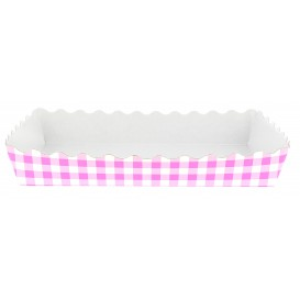Paper Tray Waffle Closed 18,2x12,2x3cm Pink (25 Units)