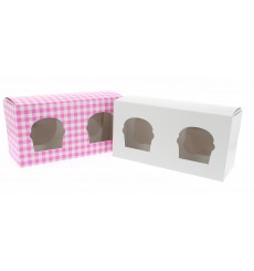 Paper Cupcake Box 2 Slot Pink 19,5x10x7,5cm (20 Units)