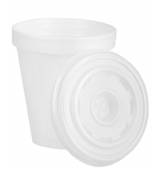 Foam Cup EPS 6Oz/180ml White + Plastic Lid (1.000 Units)
