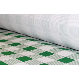 Paper Tablecloth Roll Green Checkers 1x100m. 40g (1 Unit)