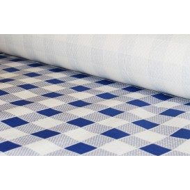 Paper Tablecloth Roll Blue Checkers 1x100m. 40g (1 Unit)