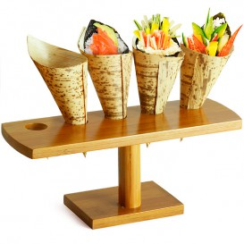 Bamboo Serving Cone Holder 5 slots (1 Unit)