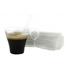Plastic Coffee Stirrer PS Wrapped Clear 10,5cm (50 Units)