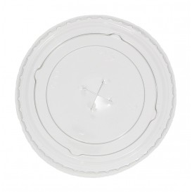 Plastic Lid with Straw Slot PET Crystal Flat Ø7,3cm (125 Units)