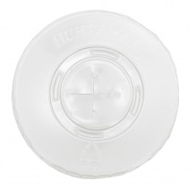 Plastic Lid with Straw Slot PET Crystal Flat Ø8,1cm (100 Units)