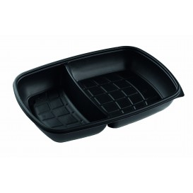 Plastic Deli Container PP 2C Black 1300ml 28x20x4cm (150 Units)