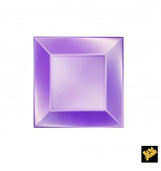 "Plastic Plate Flat Violet ""Nice"" Pearl PP 18 cm (25 Units)"