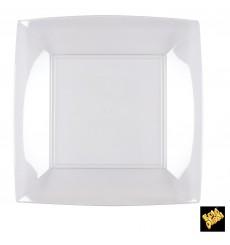 "Plastic Plate Flat Clear ""Nice"" PS 23 cm (25 Units)"