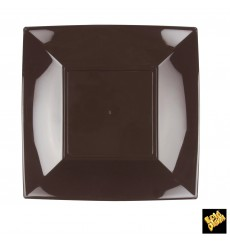"Plastic Plate Flat Brown ""Nice"" PP 23 cm (25 Units)"