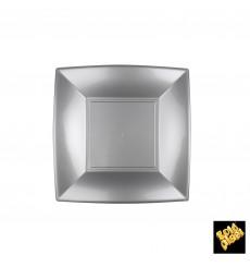 "Plastic Plate Flat Grey ""Nice"" PP 18 cm (25 Units)"