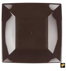 "Plastic Plate Flat Brown ""Nice"" PP 29 cm (12 Units)"