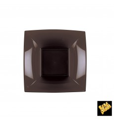 "Plastic Plate Deep Brown ""Nice"" PP 18 cm (25 Units)"
