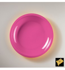 "Plastic Plate Flat Fuchsia ""Round"" PP Ø22 cm (50 Units)"