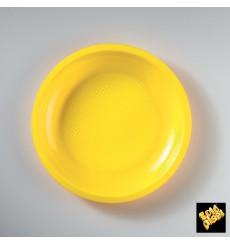 "Plastic Plate Flat Yellow ""Round"" PP Ø22 cm (50 Units)"