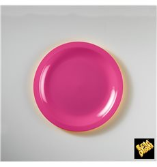 "Plastic Plate Flat Fuchsia ""Round"" PP Ø18,5 cm (50 Units)"