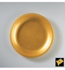 "Plastic Plate Flat Gold ""Round"" PP Ø22 cm (25 Units)"