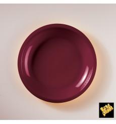 "Plastic Plate Flat Burgundy ""Round"" PP Ø22 cm (50 Units)"