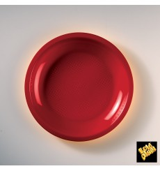 "Plastic Plate Flat Red ""Round"" PP Ø22 cm (600 Units)"