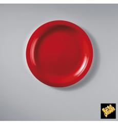 "Plastic Plate Flat Red ""Round"" PP Ø18,5 cm (50 Units)"