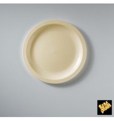 "Plastic Plate Flat Cream ""Round"" PP Ø18,5 cm (600 Units)"