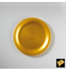 "Plastic Plate Flat Gold ""Round"" PP Ø18,5 cm (25 Units)"