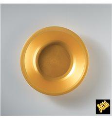 "Plastic Plate Deep Gold ""Round"" PP Ø19,5 cm (25 Units)"