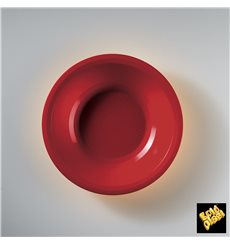 "Plastic Plate Deep Red ""Round"" PP Ø19,5 cm (600 Units)"