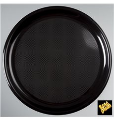 "Plastic Plate for Pizza Black ""Round"" PP Ø35 cm (144 Units)"