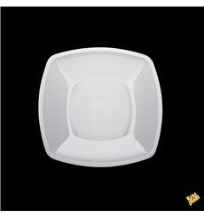 Plastic Plate Flat White Square shape PP 18 cm (25 Units)