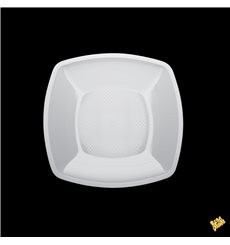 Plastic Plate Flat White Square shape PP 18 cm (300 Units)
