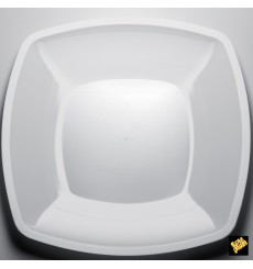 Plastic Plate Flat White Square shape PS 30 cm (144 Units)