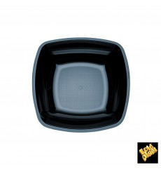 Plastic Plate Deep Black Square shape PS 18 cm